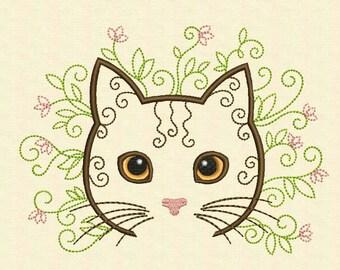 Embroidery design Flower Cat Machine AN012