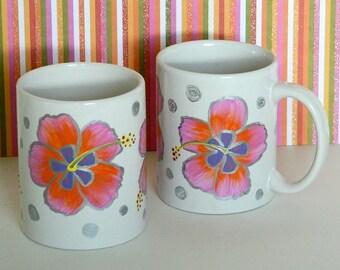 Pink Purple Hawaiian Hibiscus Coffee Tea Mug Cup Hand Painted