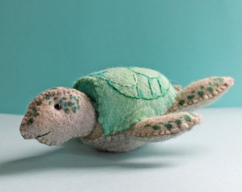 Swirly Turtle Kit, a hand sewn turtle from felt, waldorf style turtle