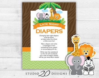 Instant Download Safari Late Night Diapers, 8x10 Jungle Diaper Thoughts, Gender Neutral Baby Shower Decorate Diaper Activity 57A