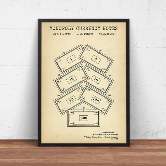 Monopoly currency patent print digital download vintage te gusta este artculo malvernweather Image collections