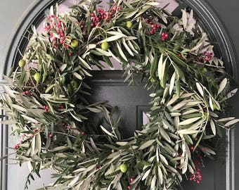 Olive Pepperberry  Wreath - 20 inches