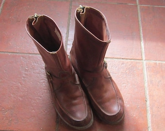 vintage W C Russell moccasin co boots sz 12 back zipper