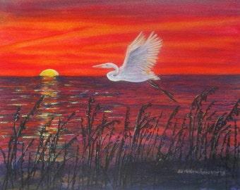 Great Egret Bird Painting, Sunset Painting, Heron Bird Wall Art, Sunset Art, Beach Watercolor, Beach Decor, Egret Wildlife Coastal Decor Art
