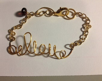 "Gold plated ""beleive"" Bracelet, Etsy Jewelry, Lilyb444, GOLD FILL components"