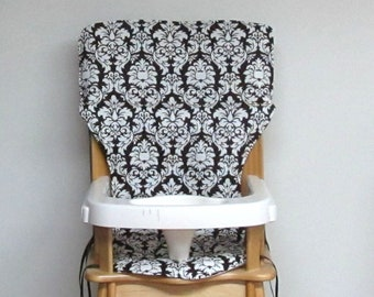 high chair cushion, damask eddie bauer wooden chair baby accessory replacement cushion, baby and child, jenny lind , dark chocolate damask