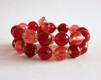 Vintage Red Bead Wrap Bracelet