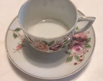 cup and saucer small made in occupied japan vintage cup and saucer small cup small saucer flower cup