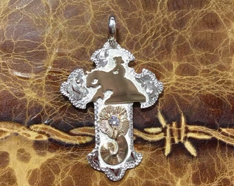 "Reining Horse Cross with CZ flower/ sterling silver/ Artisan  handmade /      1 3/4"" tall"
