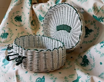 Striking Retro 1950's Vintage French Plastic-coated Woven Wire Handcrafted Basket-Rare Vintage French Kitchenalia piece-for use or Display!