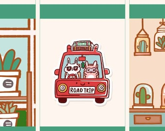 Cute Road trip sticker, Cute Road trip planner stickers, Cute road trip with boyfriend sticker (FI040)