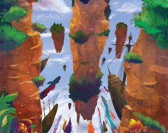 Digital Download - Digital Illustration Art - Floating Rocks Sky Valley