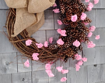 Large Pinecone and Cherry Blossom Wreath