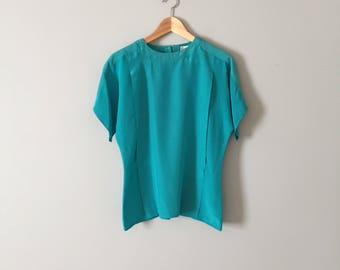 turquoise blue silk top | bat sleeve 1980s silk pleated blouse