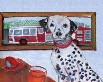 """Dalmation art card, 5"""" x 5"""" blank card, dog art, blank inside, dog art"""
