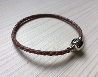 Rela Leather bracelet / Brown / Navy blue / Aqua