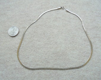 Vintage 2-sided Sterling Silver necklace - Mens or Womens - Herringbone and ZigZag designs - 17 1/2""