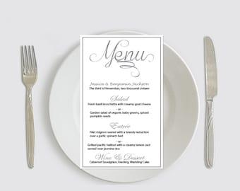 Calligraphy Wedding Menu Printable Template - Grey Calligraphy Wedding Menu Card Editable PDF Template Download - DIY You Print