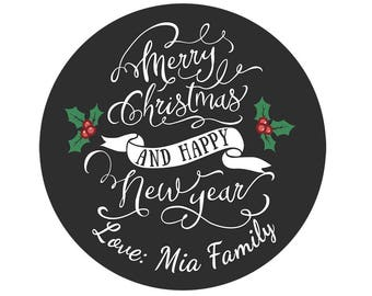 Set Personalized Custom Merry Christmas and happy new year Gift Package Stickers black