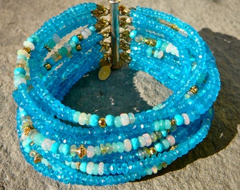 Opal Bracelet,Apatite Bracelet,Gemstone Bracelet,Opal Cuff,Ethiopian Opal,Neon Apatite,Multistrand Gemstone Bracelet,Welo Opal,Turquoise