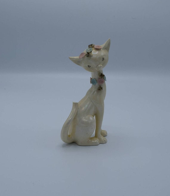 Lefton Cat Figurine Iridescent Pearl Glaze Sparkle Eyes Kitty Vintage Cat Figurine Sculpted Flowers Rhinestone Eyes Bobbed Tail Gift for Her
