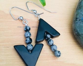 Stone arrow earrings, arrow jewelry, mismatched earrings, black jewelry, black earrings