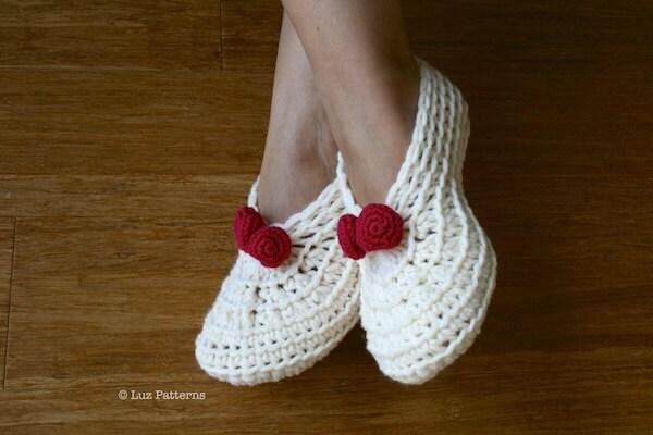 Crochet Slippers Pattern Home Shoes Women Christmas Crochet
