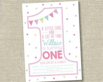 Girl First Birthday Invitation, Number 1 invitation, number one invitation, polka dot first birthday invitation, first birthday invite