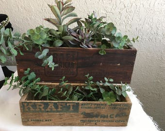2 Vintage Wooden Kraft Cheese Boxes