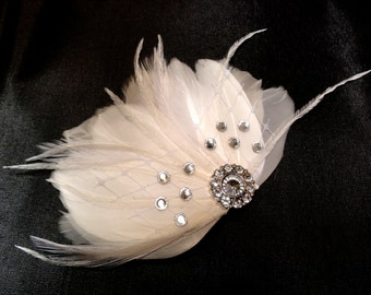 IVY White Feather and Crystal Veil Hair Clip, Feather Fascinator, Bridal Hair Piece
