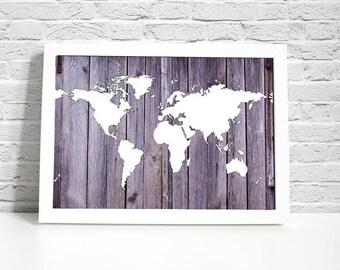 Digital Print - Map Wall Decor - Vintage Wood