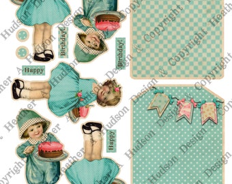Happy Birthday Tags Card Fronts Girl Boy Large  Vintage Shabby Chic Clown DIY 3 Digital Collage sheet Printable