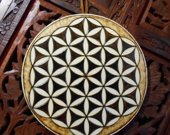 "6.5"" Flower of Life Mandala Wall Hanging - Spiritual Wall Art, Wood Mandala, Sacred Geometry Art, Bohemian Wall Art, Mandala Wall Art"