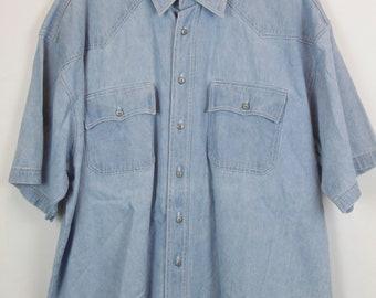 Vintage jeans shirt 90s - denim - short sleeves - oversized