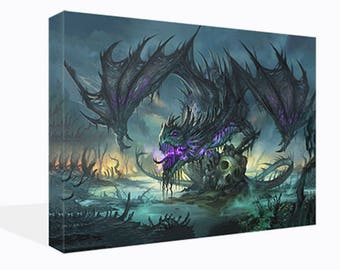 Fantasy Purple Dragon Sitting On Skulls Canvas Print  Wall Art Ready To Hang Or Poster Print