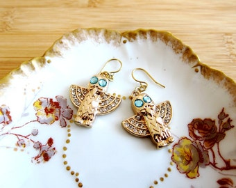 Owl Heart Aqua Clear Rhinestone Art Deco Style Earrings Bright Gold