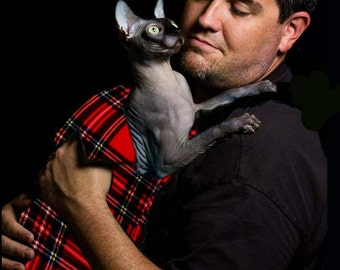 Pet Sling, The SLINX a sling for your Sphynx Cat, Emma's plaid donates to Cancer Research. Pet carrier, cat sling, plaid gift for pet PLCY