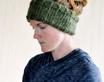 Chunky Knit Headband / Green