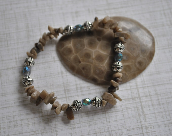 Petoskey Stone stretch bracelet with Petoskey stone chips, crystals, Bali sterling silver beads, Up North bracelet, Michigan