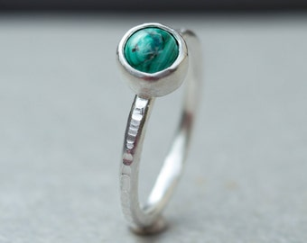 Malachite ring, Malachite silver ring,Sterling silver ring, Stackable ring,Silver stacking ring,Gemstone ring,Gemstone stacking rings, Rings