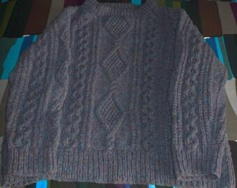 """Purple-Blue  """"Knitted in Wales"""" Heavy Wool Fisherman Knit Sweater — Size L"""