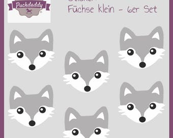 Puckdaddy Sticker set Foxes small - 6 piece set