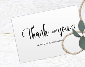 Wedding Thank You Printable Template, Printable Thank you, Thank You Card Template, Wedding Printable, Kraft, Instant Download, #HQT009_3