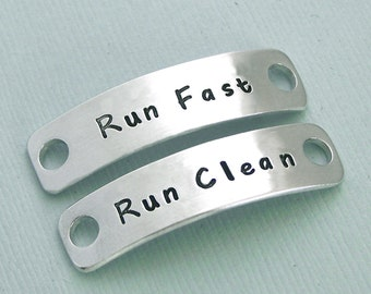 READY TO SHIP - Hand Stamped Dog Agility Shoe Plates - Aluminum Shoe Tags - Canine Agility Gift - Mach Gift - Run Fast Run Clean