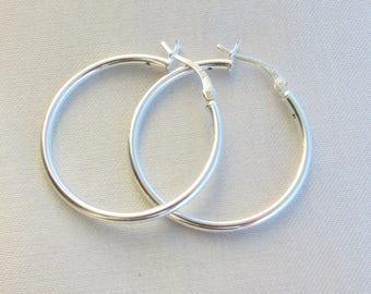 Large Silver Hoop Earrings, Large Sterling Silver Hoops, 2mm Thickness Hoops, High Quality Sterling Hoops, Classic Hoops, Everyday Earrings.