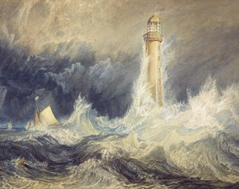 Bell Rock Lighthouse by J.M.W. Turner, in various sizes, Giclee Canvas Print
