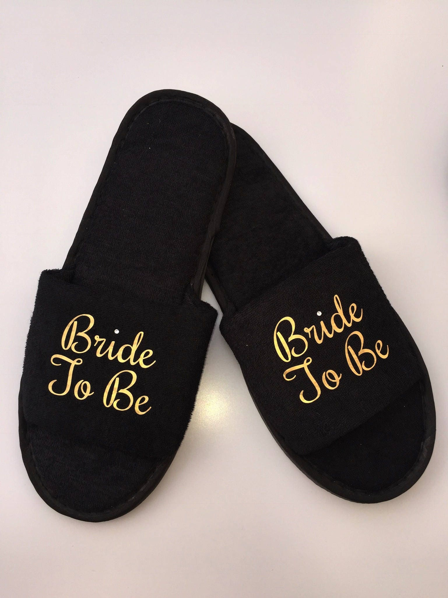 3f4afdd87cc80 Black Bridesmaid bride to be slippers