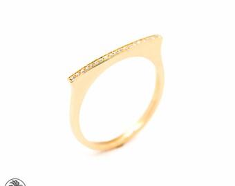 Bar Ring, Diamond Bar Ring, Flat top Ring, Flat Top Ring with Diamonds,Straight Top Pave Diamond Ring, 14 Karat Minimal Ring  LDR02390