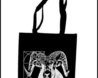 Golden Ratio Ram Tote Bag  Screen Print Black Sacred Geometry Horns Black