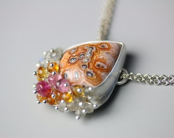 Crazy Lace Agate Necklace with Pink Tourmaline and Labradorite Fringe
